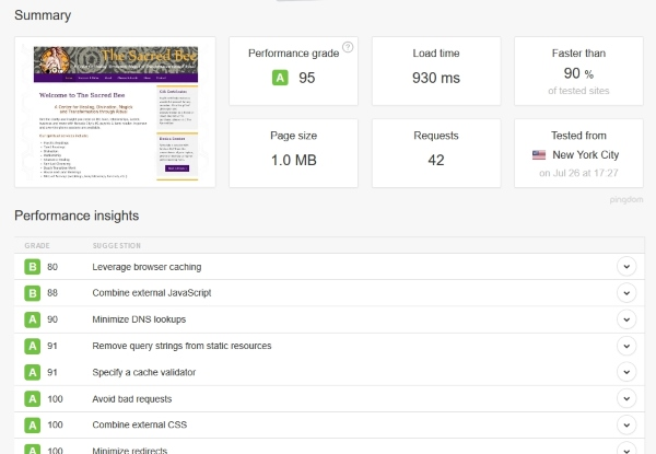 Pingdom page speed results